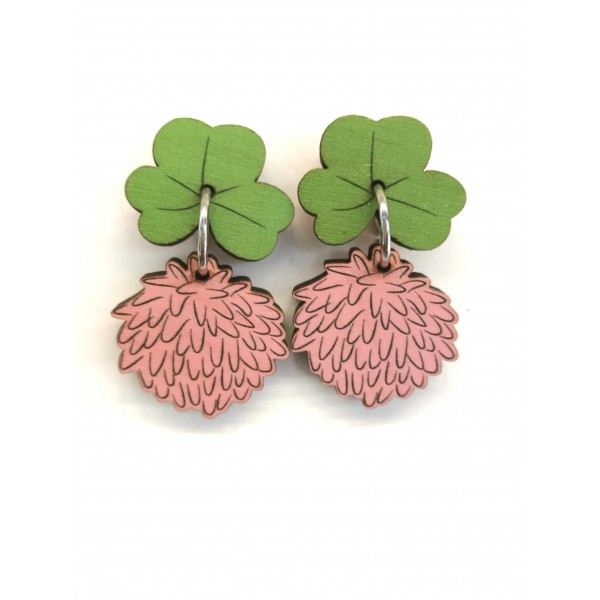 Clover flower, pin earrings