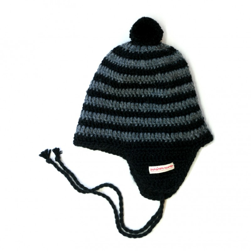 Alpaca -hat, grey stripe