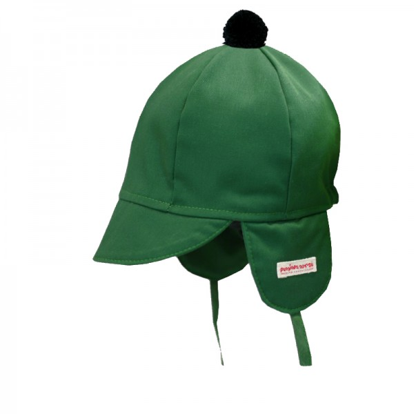 Mini cap, green with pompom