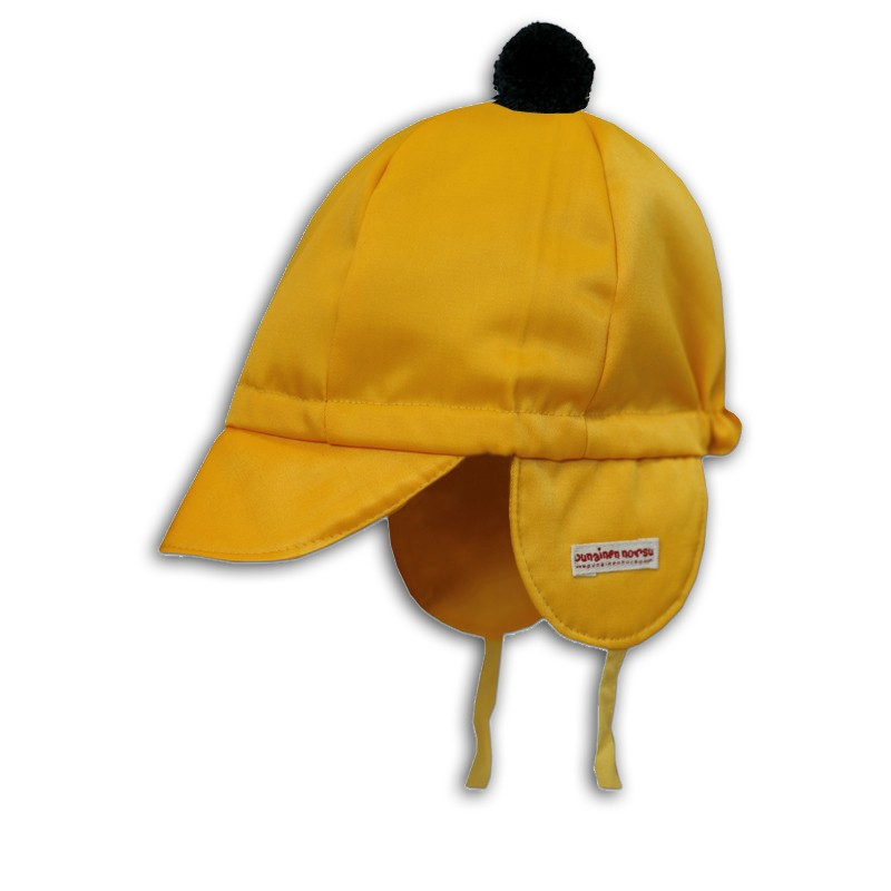 Mini cap, bright yellow with pompom