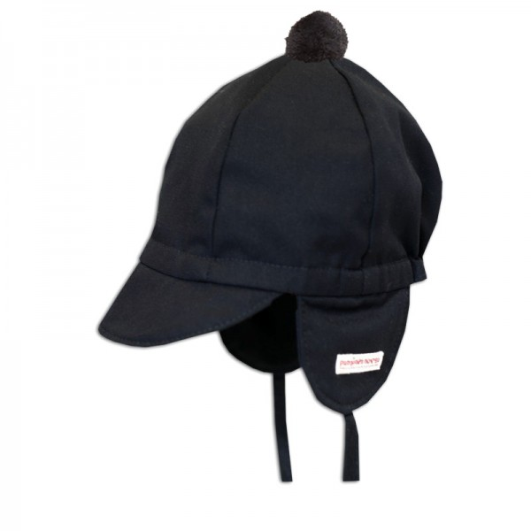 Mini cap, black with pompom